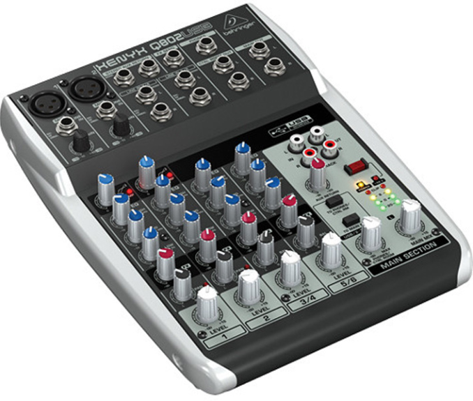 Best Mixers, Boom Stands, Sound Proofing for Podcasting Behringer XENYX Q802USB sample