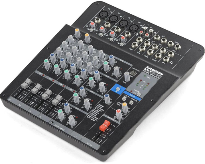 Best Mixers, Boom Stands, Sound Proofing for Podcasting Samson MXP124FX sample