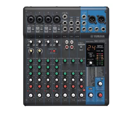Best Mixers, Boom Stands, Sound Proofing for Podcasting Yamaha MG10XU sample